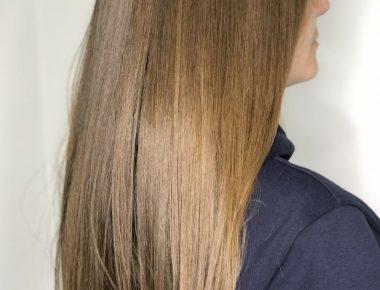 Фото до и после выпрямления волос Structure + Shine от Goldwell